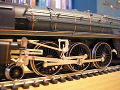 Hornby Britannia detail (Elsie esq.) Tags: layout model destruction garage pipe railway locomotive burst leak baseboard