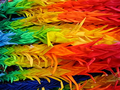 Rainbow of Peace (jasohill) Tags: blue red orange color green lines yellow japan museum paper japanese rainbow memorial origami pattern peace bright crane deleteme10 traditional culture 2006 cranes chain offering backgrounds 日本 multiple tradition a70 atomic canona70 nagasaki cultural kyushu 九州 長崎 japantimes 千羽鶴 佐々木 禎子 utatafeature specobject fotocompetition fotocompetitionbronze fotocompetitionsilver