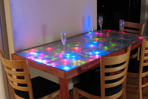 Interactive LED Dining table by oskay.