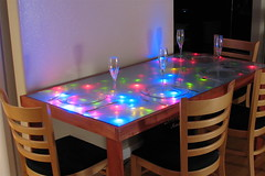 Interactive LED Dining table (oskay) Tags: make table design diy furniture led electronics woodworking makemagazine makerfaire makerfaire2006 makerfaire06
