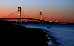 Mackinac Bridge all lit up at dusk (JohnnyRR) Tags: bridge sunset michigan mackinacbridge mackinac 3782 1on1sunrisesunsetsmayhalloffame 1on1sunrisesunsetshalloffame