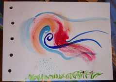 Watercolor Class experiments - massaging digital pix - by RuTemple