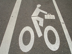 Bicyclists Carrying Luggage Ahead (oybay) Tags: bike sign oregon portland broadway biking bikesign notpicked mireasrealm bikingsign paintedstreet