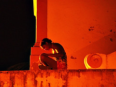 Melancolia [Melancholy] (Jim Skea) Tags: blue people orange pessoas nightshot laranja noturna melancholy fernandodenoronha 1004 melancolia jimsk top20people noronhenses chromatag chromaorangered