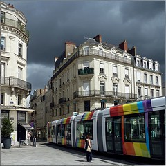 Angers, France - Le Tramway (pom.angers) Tags: panasonicdmctz10 2011 angers 49 maineetloire paysdelaloire france europeanunion july tramway rainbow 100
