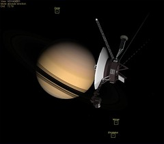 Voyager Saturn Labeled Moons