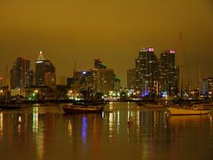 Downtown San Diego (So Cal Metro) Tags: sandiego skyline night harbor lights reflection boats
