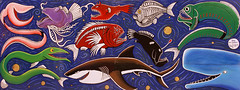 Deep Sea Food Chain - Bruce Mahalski (Pieter Pieterse) Tags: deepseafish newzealand nz aotearoa mural painting bypass brucemahalski artist resene art outdoorart painted streetart street nikon nikkor nikond2x 70200mmf28gvr fun fisheries creatures v100