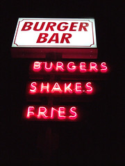Burger Bar (Curtis Gregory Perry) Tags: old light signs color colour classic luz glass beautiful sign electric night vintage wonderful licht colorful neon pretty glow bright lumire tube tubes ne retro gas signage electricity glowing instructions colourful dying electrical vanishing luce instruction muestra placard important advisory signe sinal neons  zeichen non segno     teken     glowed    neonic