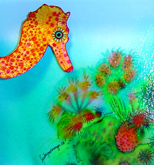Sara, the little seahorse (Moranga) Tags: blue sea cute green art beautiful wow catchycolors watercolor happy seahorse underwater turquoise aquarelle awesome great paintings happiness watercolour emerald aquarell aquarelles aguarela moranga fadamoranga aguarelas supercolored mariajoao mariajoaocatarino talens ecolines aquarrelle