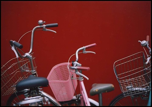 red wall and bikes