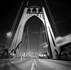 St Johns Bridge, 15 seconds (Zeb Andrews) Tags: beautiful architecture oregon 1025fav wow portland landscape blackwhite amazing cool nice topv333 cityscape 500v20f awesome great fv5 symmetry pinhole 2550fav infrared zeroimage 333v3f interestingness160 i500 1000v40f explore7jan2006 myfavoriteplaceintheworld zero66 bluemooncamera zebandrews zebandrewsphotography