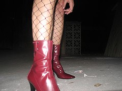 red boots (corsakti) Tags: shoes me boots fishnets legs gritty fashion red