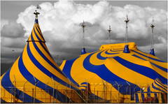 Urban circus (halfgeek) Tags: blue yellow catchycolors tents circus stripes badge cirquedusoleil