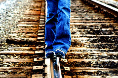 Riding the Rails (LeggNet) Tags: railroad blue art feet 1025fav contrast train ties walking utah interestingness track tracks trains jeans leggnet legg interestingness161 i500 i500blogged leggnetcom richlegg richlegg wwwleggnetcom