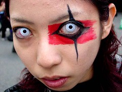white eyes (photobento) Tags: harajuku tokyo japan eyes goth gothic contacts contactlense makeup cosplay face eye