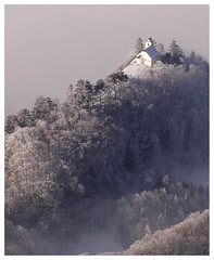 escaping the fog (idogu) Tags: winter 15fav church topv111 fog 1025fav landscape ilovenature switzerland scenery quality chapel 100v10f topv222 2550fav 50100fav stgeorg heidiland sarganserland my10photos xxxxx 5000paces berschis fivestarsgallery 1show stgalleroberland websetfavorite selectshow