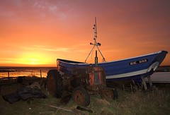 Tractor and Coble (Skinnyde) Tags: uk england tractor beach sunrise wow bravo skinnyde northumberland fishingboat coble boulmer utatafeature profilepage 2006tt coastuk welcomeuk