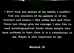 Bernard, 16 (Genocide Survivor) (camera_rwanda) Tags: poverty africa boy portrait bw film bernard museum angel youth plaque skulls photography hope peace humanity tmax spirit massacre faith prayer young documentary orphan kigali rwanda give photograph soul future afrika 16 reconciliation darfur genocide economics humanitarian survivor allrightsreserved reconstruction forgiveness mortality inhumanity 100days savedarfur genocidaires endgenocidenow sponsoranorphan pearlchildrencarecenter genorosity camerarwanda orphansofrwandaorg activecompassion activeresponsibilty maketheworldabetterplace krestakingcutcher upcoming:event=174109 krestakcvenning httpwwwkrestakingphotographycom krestakingphotography photosforpeace