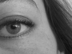 Eye can see (Iris V) Tags: photodiary iris august 2005 eye see blackandwhite bw portrait pupil eyelashes eyebrow hair cheek shine reflection me apieceofme oog stare