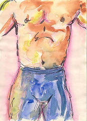 Male Dancer Sketch #2 (Shai Coggins) Tags: dancer torso sketches penandink maledancer