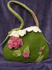 Felted bag (Elina Aulikki) Tags: flowers roses wool felted bag felting handmade craft felt purse feltro