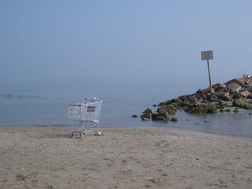 Una carrito de la compra abandonado en una playa