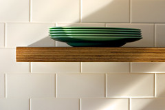 Plates (John Baird) Tags: green kitchen modern tile 50mm design designer annarbor shelf plates dishes plywood furnituredesign shamelessselfpromotion subwaytile johnbaird customfurniture kitchenporn finnply balticbirch furnituremaker