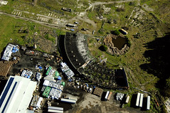 wasteland (topherous) Tags: california trash junk decay urbandecay arc brisbane aerial fromabove burnt collapse burned wasteland collapsed