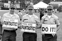 You Can Do It (ROSS HONG KONG) Tags: california leica bw white signs black sports monochrome noir cheerleaders competition longbeach signage monochrom olympics blanc cheering policemen summerolympics summerspecialolympics cadetspolice