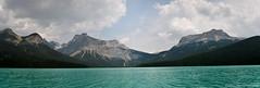 Emerald Lake Panorama (Witty nickname) Tags: trees panorama lake water clouds rockies britishcolumbia rockymountains canoeing naturalbeauty pinetrees canoetrip emeraldlake yohonationalpark fieldbc glacierfedlake emeraldlakepanorama