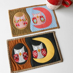 Night Owls Mug Rugs (The Patchsmith) Tags: quilt applique owls miniquilt mugrug patchsmith patchsmithpatterns