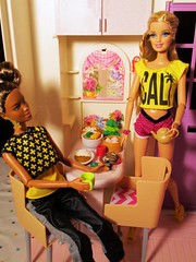 Would you like more tea (flores272) Tags: aabarbie barbie barbiedoll barbieclothing barbiefurniture foldupbarbiehouse barbiehouse 1996 pinkbarbiehouse dollfood doll dolls toy toys blackbarbie