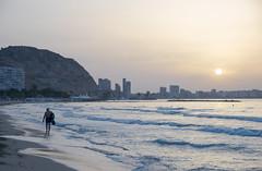 Morning jacket (WhereIsTheBeach) Tags: beachwalking walking footsteps footprints alicante beach oldman old sunrise waves