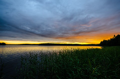 Glowing sunset (ArtDvU) Tags: lake lakescape landscape lakeshore finland sunset evening summer glow gold cloud reflection northern ostrobothnia wideangle nikon