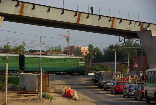 Podolsk city, Kutuzovskaya railway crossing 2008 ©  trolleway