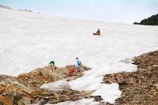 Glacier climbing in August on St Mary's Glacier, Colorado