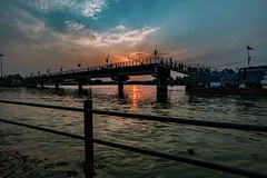 . (Rambonp:loves all creatures of this universe.) Tags: hardwar gangariver uttaranchal birds goose sunrise sun sunrays blue red yellow green water reflectiontrees sky clouds nature landscape wallpaper paradise silhouette mountains morning india atthecrackofdawn