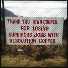 Thank You Town Council (~ Lone Wadi ~) Tags: superiorarizona sign signage banner americansouthwest pinalcounty hipstamatic iphoneography roadside miners mining protest towncouncil smalltown