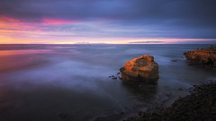 Sunset Cliffs II (David Colombo Photography) Tags: sandiego sunset sunsetcliffs california pacific ocean blue purple magenta yellow longexposure dreamy clouds sea water surf rock seastack nikon d800 davidcolombo davidcolombophotography landscape seascape outdoor coast fineart vibrant colorful art