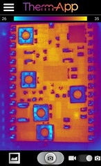 Thick film circuit thermal view (Ultrapurple) Tags: hot cold scale grey weird cool warm experimental invisible warmth experiment science heat infrared 8bit temperature thermal android nightvision lowres scientific falsecolor falsecolour imager thermalimage weirdscience thermalcamera thermogram thermograph thermographic thermalimager lwir uncooled thermapp microbolometer