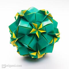 Origami Sonobe (Maria Sinayskaya) Tags: origami folded 10010 modularorigami kusudama sonobe mariasinayskaya мариясинайская rectangle23 kamipaperduocolorcolor 15cmdoublesided daiyoshiko