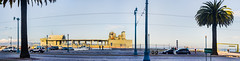 usns ship supply east face pier 30 - 32 (pbo31) Tags: sanfrancisco california blue sunset summer panorama color silhouette bay pier nikon marine ship over navy large july panoramic embarcadero sail 32 southbeach stitched supply d800 2015 boury pbo31 pier30