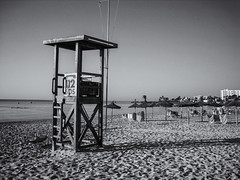 Morning calm before the chaos (biddlem741) Tags: sea bw holiday beach blackwhite mallorca majorca lifeguardtower sacoma matthewbiddle