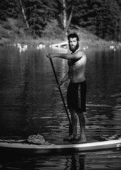 . (DEARTH !) Tags: ca blackandwhite canada man male beard outside nationalpark outdoor lifestyle alberta banff wilderness alpinelake sup dearth johnsonlake standuppaddleboarding improvementdistrictno9 davidpostman