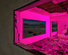 picture window. mojave desert, ca. 2016. (eyetwist) Tags: eyetwistkevinballuff eyetwist abandoned building window landscape mojavedesert dark night longexposure magenta lightpainting fullmoon moonlight mojave desert california nikon d7000 nikkor capturenx2 1024mmf3545g 1024mm npy nocturne highdesert america americana americantypology american west roadtrip peeling weathered worn closed decay derelict ruin hole crumbling wall stucco angle geometric abstract windowframe powerline ceiling rubble saturated color lines geometry frame picturewindow pierced shot bulletholes pink architecture