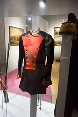Black and red military coat