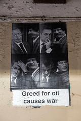 Greed for oil causes war (dprezat) Tags: paris sarkozy kadhafi street art graf tag pochoir stencil peinture aerosol bombe painting urban nikond800 nikon d800