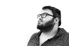 Day Two Hundred and Fifty (MBPruitt) Tags: black white self portrait bear beard sexy chub cub idk glasses