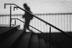 upstairs. (P. Zimmer) Tags: blackandwhite bw bnw black white schwarz weiss sw schwarzweiss noiretblanc monotone monochrome monochromatic people menschen urban stadt street streetphotography deutschland germany duesseldorf fuji xpro2 pattern light licht shadow schatten treppe stairs